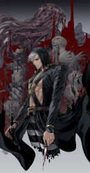 2boys, artist name, belt, black coat, black headwear, black pants, black sclera, blood, bloody knife, bloody weapon, brown belt, chest harness, closed mouth, coat, colored sclera, commentary request, cropped legs, diavolo, disintegration, dripping, facing away, floating hair, formaggio, gelato, ghiaccio, harness, hat bobbles, highres, holding, holding knife, holding weapon, hood, illuso, jojo no kimyou na bouken, knife, long coat, long hair, long sleeves, looking at viewer, male focus, melone, multiple boys, multiple sources, open clothes, open coat, pants, patterned hair, pesci, pink hair, polka dot hair, prosciutto, red eyes, risotto nero, shinomaru, short hair, signature, silver hair, sorbet, spotted hair, striped, striped pants, toned, toned male, vento aureo, weapon, white pants