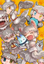 animal ear fluff, animal ears, backpack, bag, blue eyes, buchi0122, collar, dog (kemono friends), dog (mixed breed) (kemono friends), dog ears, dog girl, dog tail, elbow gloves, extra ears, eyebrows visible through hair, fang, fur trim, gloves, grey hair, harness, heterochromia, highres, jacket, kemono friends, lucky beast (kemono friends), multicolored hair, multiple views, necktie, open mouth, shirt, short hair, short sleeves, shorts, skirt, smile, striped tail, tail, two-tone hair, white hair, yellow eyes