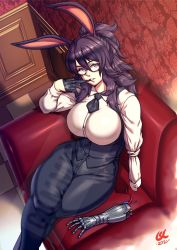 1girl, 3d background, amputee, animal ears, black gloves, blue eyes, breasts, bunny ears, c. suryo laksono, commentary, commission, couch, curvy, english commentary, glove pull, gloves, grey-framed eyewear, hair pulled back, large breasts, legs crossed, long hair, mechanical arms, mixed-language commentary, mouth hold, mouth pull, original, pants, ponytail, prosthesis, prosthetic arm, purple hair, semi-rimless eyewear, shirt, single glove, single mechanical arm, sitting, solo, thick thighs, thighs, tied sleeves, under-rim eyewear, vest, watermark, white shirt