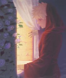 1boy, absurdres, alternate costume, bakugou katsuki, bangs, black nails, blonde hair, boku no hero academia, cowboy shot, curtains, fingernails, flower, from side, highres, indoors, male focus, nail polish, rain, red robe, reference request, sharp fingernails, short hair, signature, solo, standing, stone wall, symbol commentary, wall, wengwengchim