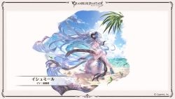 1girl, ass, ass focus, back, beach, blue hair, breasts, butt crack, curvy, draph, flower, from behind, granblue fantasy, hair between eyes, high heels, highleg, highleg swimsuit, horns, huge ass, izmir, large breasts, looking at viewer, looking back, minaba hideo, official art, pointy ears, ponytail, swimsuit, thick thighs, thighs, whale tail, white swimsuit