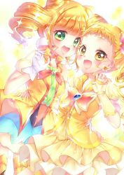 2girls, :d, aqua skirt, blonde hair, blush, bow, choker, color connection, commentary request, cure lemonade, cure sparkle, double bun, earrings, elbow gloves, eyelashes, fingerless gloves, floating hair, gloves, green eyes, hair cones, hair ornament, happy, healin' good precure, heart, heart hair ornament, highres, hiramitsu hinata, jewelry, kasugano urara (yes! precure 5), long hair, looking at viewer, magical girl, multiple girls, open mouth, pom pom (clothes), pom pom earrings, precure, puffy short sleeves, puffy sleeves, shiny, shiny clothes, shiny skin, short hair, short sleeves, short twintails, shorts, sidelocks, skirt, smile, tied hair, touki matsuri, twintails, vest, white gloves, yellow eyes, yellow neckwear, yellow vest, yes! precure 5, yes! precure 5 gogo!