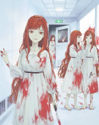 4girls, barefoot, blood, blood on face, blood stain, blood trail, bloody clothes, bloody handprints, bloody hands, bloody knife, bloody weapon, closed mouth, crack, door, dress, exit sign, footprints, glass, gun, handgun, highres, holding, holding gun, holding knife, holding weapon, horror (theme), indoors, knife, long hair, looking at viewer, multiple girls, nanaju ko, number, open door, open mouth, orange hair, original, parted lips, red eyes, smile, talking, weapon, whispering, white dress, white neckwear