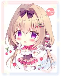 1girl, :d, azumi kazuki, bangs, big head, black bow, black footwear, blush, bow, breasts, brown hair, cherry hair ornament, chibi, cleavage, commentary request, english text, eyebrows visible through hair, food themed hair ornament, gloves, hair between eyes, hair bow, hair intakes, hair ornament, hairclip, heart, highres, holding, holding tray, long hair, low twintails, medium breasts, open mouth, original, parfait, pink capelet, pink skirt, pleated skirt, puffy short sleeves, puffy sleeves, purple eyes, shirt, shoes, short sleeves, skirt, smile, solo, spoken heart, thighhighs, tray, twintails, very long hair, white gloves, white legwear, white shirt