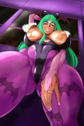 Rule 34   breasts, dark skin, ganguro, green hair, highres, large breasts, long hair, morrigan aensland, nb teishoku, smile, vampire (game)