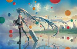 1girl, absurdly long hair, arms at sides, backlighting, balloon, bare shoulders, black footwear, black skirt, blue hair, blue nails, blue neckwear, blue sky, boots, building, charm (object), city, cityscape, cliff, cloud, cloudy sky, collared shirt, commentary request, detached sleeves, evening, facing away, fingernails, floating hair, frilled skirt, frills, from behind, glint, gradient, gradient sky, grass, hatsune miku, headset, highres, horizon, light particles, long hair, looking afar, looking back, nail polish, name tag, nape, necktie, number tattoo, outdoors, pleated skirt, reflection, reflective water, ripples, rolling suitcase, saihate (d3), see-through sleeves, shallow water, shirt, shore, shoulder tattoo, signature, skindentation, skirt, sky, sleeveless, sleeveless shirt, solo, suitcase, sunlight, tattoo, thigh boots, thighhighs, tie clip, twintails, very long hair, vocaloid, walking, walking on liquid, water, water drop, white shirt, wide shot, yellow sky, zettai ryouiki