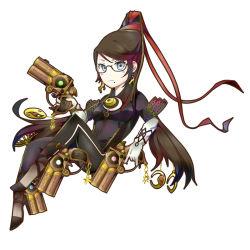 1girl, bayonetta, bayonetta (character), beehive hairdo, bodysuit, glasses, gun, jewelry, mole, pendant, quadruple wielding, ribbon, shinno, simple background, weapon