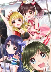 4girls, aimoto rinku, akashi maho, animal ears, arm up, armpits, artist name, bare shoulders, black blouse, black hair, blonde hair, blouse, blue blouse, blue bow, blue eyes, blue hair, blurry, blush, bokeh, bow, braid, brown eyes, brown hair, bunny ears, choker, closed mouth, collared jacket, commentary request, crop top, crown braid, d4dj, depth of field, door, dress, eyebrows visible through hair, fake animal ears, frilled blouse, frilled cuffs, frilled straps, gold choker, gold trim, green eyes, hair bow, happy, headphones, headphones around neck, highres, hime cut, index finger raised, indoors, jacket, lens flare, looking at another, looking at viewer, midriff, multicolored blouse, multicolored hair, multiple girls, multiple hair bows, nari (hoooooolic), neck ribbon, off shoulder, ohnaruto muni, on head, orange eyes, pink dress, pink ribbon, pointing, pointing up, pose, red bow, red jacket, ribbon, ribbon choker, round teeth, self shot, short hair, sleeveless, sleeveless jacket, spaghetti strap, sparkle, star (symbol), stomach, straight hair, streaked hair, striped, striped bow, studio, stuffed animal, stuffed cat, stuffed toy, teeth, togetsu rei, twintails, twitter username, upper body, upper teeth, v-shaped eyebrows, white blouse, white stripes, wrist cuffs