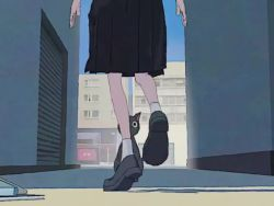 1girl, 3d, animated, bicycle, black cat, black footwear, black sailor collar, black shirt, black skirt, blue sky, building, cat, commentary, dancing, door, english commentary, glasses, grey hair, ground vehicle, hands on hips, long sleeves, medium hair, mixed-language commentary, neckerchief, ocowa 0025, original, outdoors, pleated skirt, red-framed eyewear, red neckwear, sailor collar, shirt, shoes, skirt, sky, socks, solo, video, white legwear