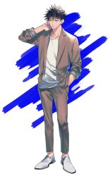1boy, arm up, black hair, casual, collarbone, dress shirt, dress shoes, formal, full body, fushiguro megumi, green eyes, highres, jujutsu kaisen, looking to the side, shirt, shoes, sleeves rolled up, spiked hair, suit, tenobe, unbuttoned, white shirt