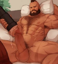 Rule 34 | 1boy, abs, bara, beard, censored, character request, check character, chest hair, facial hair, feet out of frame, hairy, large pectorals, large penis, leg hair, male focus, male pubic hair, mature male, mohawk, mosaic censoring, muscular, muscular male, mustache, navel, navel hair, nipples, nude, on bed, pants, pants removed, penis, precum, pubic hair, red pants, ryker, scar on arm, scar on leg, short hair, solo, spread legs, stomach, street fighter, tenga, testicles, thick thighs, thighs