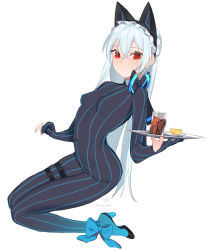 1girl, absurdres, beijuu, bodysuit, breasts, closed mouth, covered navel, cup, drinking glass, girls frontline, hair between eyes, high heels, highres, holding, holding plate, kneeling, long hair, looking at viewer, pinstripe pattern, plate, red eyes, silver hair, simple background, small breasts, smile, solo, striped, thigh strap, tokarev (girls frontline), white background