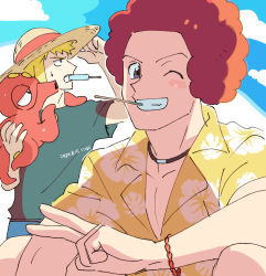 2boys, afro, blonde hair, blush stickers, bracelet, clenched teeth, collarbone, collared shirt, commentary request, creatures (company), dated, flint (pokemon), floral print, food, game freak, gen 2 pokemon, grey eyes, hand on headwear, hat, jewelry, looking at viewer, male focus, mouth hold, multiple boys, nibo (att 130), nintendo, octillery, on shoulder, one eye closed, pokemon, pokemon (creature), pokemon (game), pokemon dppt, pokemon on shoulder, popsicle, shirt, sweatdrop, teeth, v, volkner (pokemon), yellow shirt