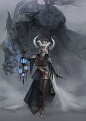 1girl, absurdres, armor, belt, blue fire, chains, claws, collarbone, curled horns, eyebrows visible through hair, eyes visible through hair, fire, flame, fog, grey hair, highres, holding, holding lantern, horns, lantern, long hair, monster girl, muscular, open mouth, original, parted lips, pauldrons, pointy ears, red legwear, scar, scar on chest, shoulder armor, single pauldron, single thighhigh, srasa, standing, thigh strap, thighhighs, torn, torn clothes, turtleneck, vambraces, veil, white belt, white horns