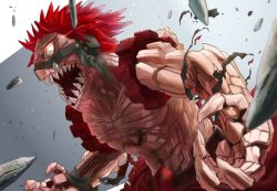1boy, 4o080 yotabnc, action, boku no hero academia, commentary request, glowing, glowing eyes, grey background, highres, kirishima eijirou, male focus, open mouth, red eyes, red hair, sharp teeth, shirtless, solo, spiked hair, teeth, torn clothes, two-tone background, white background