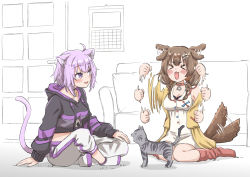 >o<, 2girls, afterimage, ahoge, animal ear fluff, animal ears, black choker, black hoodie, blush, blush stickers, bone hair ornament, braid, breasts, brown hair, calendar (object), cat, cat ears, cat tail, choker, collar, commentary, couch, dog ears, dog tail, door, dress, ear wiggle, excited, eyebrows visible through hair, eyes, eyes closed, full body, hair ornament, happy, highres, hololive, hood, hoodie, indian style, indoors, inugami korone, jacket, legs crossed, light purple hair, long sleeves, medium breasts, medium hair, midriff, motion lines, multiple girls, navel, nekomata okayu, off shoulder, open clothes, open jacket, open mouth, pants, purple eyes, purple hoodie, red collar, red legwear, short hair, side braids, simple background, sitting, sitting on floor, sleeveless, sleeveless dress, smile, socks, sweatpants, tail, tail wagging, temari (nekomata okayu), twin braids, two-tone hoodie, virtual youtuber, wariza, watanabe masafumi (masafumi 127), waving arms, white background, white dress, white footwear, white legwear, white pants, yellow jacket