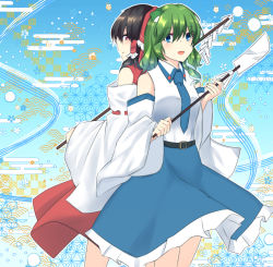 2girls, absurdres, back-to-back, bangs, bare legs, bare shoulders, belt, black belt, black hair, blue background, blue eyes, blue neckwear, blue skirt, blush, bow, closed mouth, collared shirt, commentary request, cropped legs, detached sleeves, eyebrows visible through hair, eyes visible through hair, frilled bow, frilled hair tubes, frilled skirt, frills, frog hair ornament, from behind, from side, geometric pattern, gohei, gradient, gradient background, green hair, hair between eyes, hair bow, hair ornament, hair over shoulder, hair tubes, hakurei reimu, highres, holding, huge filesize, kochiya sanae, light blue background, light blush, long skirt, looking at viewer, medium hair, mokutan (link machine), multiple girls, necktie, open mouth, outline, red bow, red eyes, red shirt, red skirt, shiny, shiny hair, shirt, skirt, sleeveless, sleeveless shirt, smile, snake hair ornament, touhou, two-tone shirt, white outline, white shirt, wing collar