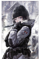 1girl, absurdres, arknights, artist name, belt, black hair, blue eyes, border, canadian flag, coat, dated, frost (rainbow six siege), gloves, hand up, hat, highres, holding, holding knife, knife, long sleeves, military, mole, mole under eye, outside border, rainbow six siege, sawkm, short hair, snow, snowing, solo, tactical clothes, utility belt, white border, winter clothes, winter coat