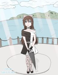 1girl, aqua eyes, artist name, artist request, back bow, bare shoulders, belt, birthday, black dress, black footwear, black gloves, black high heels, black legwear, black skirt, blue eyes, blue sky, blush, bow, breasts, brown hair, buttons, choker, cleavage, cloud, collarbone, day, dress, drop earrings, earrings, female focus, full body, gloves, grey belt, grey bow, grey skirt, hair between eyes, hair bow, happy birthday, high heels, high ponytail, highres, holding, holding umbrella, jewelry, lace, lace gloves, long hair, looking at viewer, love live!, love live! nijigasaki high school idol club, love live! school idol festival, mountain, multicolored, multicolored clothes, necklace, ocean, off-shoulder dress, off shoulder, ousaka shizuku, outdoors, pantyhose, parted lips, ponytail, sidelocks, skirt, sky, sleeveless, sleeveless dress, small breasts, smile, solitude rain (love live!), solo, standing, sunlight, two-tone dress, umbrella, white bow, white dress, white skirt