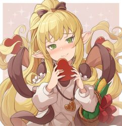 1girl, basket, blonde hair, blush, bow, candy, chocolate, chocolate heart, corn, food, granblue fantasy, green eyes, harvin, heart, hinami (hinatamizu), jewelry, long hair, melissabelle, pendant, pointy ears, ponytail, shawl, smile, sparkle background, valentine, very long hair