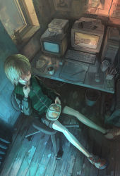 1girl, bangs, bear, blonde hair, box, chair, coffee, computer, controller, day, desktop, drawer, drawing tablet, envelope, extension cord, eyes closed, food, from above, full body, headphones, headphones removed, highres, holding, holding spoon, indoors, jacket, keyboard (computer), legs up, light, model airplane, monitor, mouse (computer), notebook, office chair, original, pen, photo (object), remote control, scissors, shadow, shoes, short hair, shorts, sitting, sneakers, solo, spoon, stationery, television, tokunaga akimasa, track jacket, trash, trash can, utensil in mouth, webcam, window, wooden floor, zipper