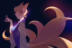 1girl, absurdres, adapted costume, ahoge, animal ear fluff, animal ears, bangs, blonde hair, blue dress, blue nails, breasts, collar, dou (doudouzi), dress, expressionless, eyelashes, fingernails, fox ears, fox shadow puppet, fox tail, frilled collar, frilled sleeves, frills, from side, hair between eyes, half-closed eyes, hand up, highres, huge filesize, layered dress, light, light particles, light rays, lips, long sleeves, looking past viewer, looking to the side, medium breasts, multiple tails, nail polish, no hat, no headwear, parted lips, pink lips, shadow, short hair, solo, static, tail, touhou, upper body, white dress, wide sleeves, yakumo ran