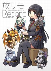 1girl, 6+boys, animal ears, bangs, black hair, blush, book, box, breasts, buttons, character request, chibi, collared shirt, creature, demon boy, demon horns, dog boy, english text, eyebrows visible through hair, fang, fat, fat man, floating, formal, full body, furry, gamr (tokyo houkago summoners), goat boy, goat ears, goat horns, goat tail, goshiki, highres, holding, holding book, horkeu kamui (tokyo houkago summoners), horns, long sleeves, looking at viewer, master 2 (tokyo houkago summoners), monster boy, multiple boys, necktie, open mouth, ophion (tokyo houkago summoners), pelvic curtain, plump, salomon (tokyo after school summoners), school uniform, shirt, shoes, simple background, sitting, skirt, sleeping, smile, suit, thighhighs, tokyo houkago summoners, upper body, whblack eyes, white background, white shirt, wolf boy