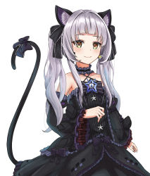 1girl, animal ear fluff, animal ears, bangs, bare shoulders, black dress, black sleeves, blunt bangs, bow, bowtie, brooch, cat ears, cat girl, cat tail, center frills, choker, closed mouth, collarbone, criss-cross halter, detached sleeves, dress, dress bow, earrings, flat chest, frilled choker, frilled dress, frilled ribbon, frills, gothic lolita, hair ribbon, halter dress, halterneck, highres, hololive, jewelry, juliet sleeves, light blush, lolita fashion, long hair, long sleeves, looking at viewer, murasaki shion, nano (nandemo note31), pinstripe pattern, puffy sleeves, ribbon, short eyebrows, sidelocks, silver hair, simple background, sleeveless, sleeveless dress, smile, solo, star (symbol), striped, tail, tail bow, tail ornament, tail raised, triangle earrings, twintails, virtual youtuber, white background, wide sleeves, yellow eyes