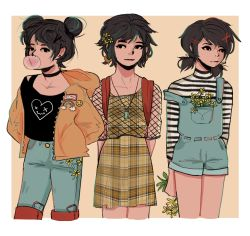 1girl, backpack, bag, bangs, black choker, black shirt, black straps, black stripes, breast pocket, bubble blowing, checkered, checkered dress, chewing gum, choker, closed mouth, commentary, denim, doodlebozo, double bun, dress, english commentary, fishnets, floral print, flower, hair ornament, hairclip, hand in pocket, hands in pockets, heart, highlights, highres, holding, holding flower, hood, hooded jacket, horizontal stripes, jacket, jeans, jewelry, looking at viewer, looking to the side, multicolored hair, necklace, open clothes, open jacket, overalls, pants, pocket, shirt, short hair, short twintails, solo, standing, strap slip, striped, striped shirt, swept bangs, t-shirt, the raven cycle, turtleneck, twintails, unzipped, white shirt, x hair ornament, x x, yellow dress, yellow flower, yellow jacket