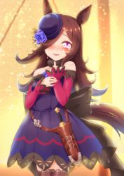 1girl, animal ears, blue dress, blue flower, blue headwear, blue rose, blurry, blurry background, blush, bowler hat, brown collar, brown hair, brown legwear, collar, commentary request, cowboy shot, crying, crying with eyes open, dagger, detached sleeves, dress, flower, glint, gradient, gradient background, hair flower, hair ornament, hair over one eye, hand on own arm, hand on own chest, hat, hat on face, highres, horse ears, horse girl, horse tail, knife holster, long hair, looking at viewer, parted lips, purple eyes, red sleeves, rice shower, rody (hayama yuu), rose, solo, sparkle background, standing, strapless, strapless dress, streaming tears, tail, tears, thighhighs, umamusume, very long hair, weapon, yellow background, zettai ryouiki