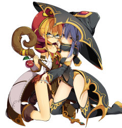 2girls, bare shoulders, blonde hair, blue eyes, blue hair, blush, boots, capelet, choker, dengeki bunko, detached sleeves, hair ornament, hairclip, hat, hood, looking at viewer, multiple girls, nail polish, ogadenmon, panties, sleeveless, staff, thigh boots, thighhighs, underwear, witch hat, yellow eyes