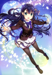 1girl, :d, absurdres, aqua eyes, black footwear, black jacket, black legwear, black stripes, blazer, blue background, blue bow, blue hair, blue neckwear, blush, bow, bowtie, braid, breasts, collared shirt, copyright request, eyebrows visible through hair, frilled bow, frilled shirt, frills, fujima takuya, hair behind ear, hair between eyes, hair bow, highres, jacket, layered skirt, long hair, looking at viewer, miniskirt, multiple moons, official art, open hands, open mouth, outstretched arms, pantyhose, pigeon-toed, pink lips, plaid, plaid bow, pleated skirt, scan, school uniform, shiny, shiny clothes, shirt, short braid, skirt, small breasts, smile, solo, spread arms, star (symbol), tongue, twin braids, white frills, white shirt, white skirt