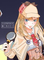 1girl, beige headwear, blush, closed mouth, cropped, film grain, green eyes, hat, highres, holding, holding magnifying glass, hololive, hololive english, long hair, magnifying glass, minxei, necktie, photo (object), pink lips, plaid, red neckwear, solo, stethoscope, upper body, virtual youtuber, watson amelia