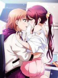 2girls, absurdres, ahoge, bare shoulders, blurry, blurry background, blush, breasts, candy, chair, chocolate, chocolate heart, commentary request, eye contact, food, hair ornament, hair scrunchie, hand on another's chin, hand under clothes, hand under shirt, heart, highres, holding, hood, hoodie, kougi hiroshi, long hair, long sleeves, looking at another, looking to the side, love live!, love live! sunshine!!, medium breasts, multiple girls, open mouth, orange hair, pleated skirt, polka dot, polka dot scrunchie, ponytail, purple shorts, red eyes, red hair, sakurauchi riko, scrunchie, shirt, short hair, short sleeves, shorts, sitting, sitting on lap, sitting on person, skirt, sparkle, takami chika, valentine, white hoodie, white shirt, yellow eyes, yellow scrunchie, yuri