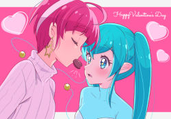 2girls, ahoge, antennae, aqua eyes, aqua hair, bangs, blunt bangs, blush, candy, chocolate, chocolate heart, commentary, couple, ear blush, earrings, eyes closed, facing another, food, food in mouth, hagoromo lala, happy valentine, heart, hoshina hikaru, jewelry, juugoya neko, letterboxed, long hair, looking at another, multicolored hair, multiple girls, older, open mouth, outside border, pink background, pink hair, pink sweater, pointy ears, precure, ribbed sweater, short hair, star-shaped pupils, star (symbol), star earrings, star in eye, star twinkle precure, streaked hair, sweater, symbol-shaped pupils, symbol in eye, turtleneck, turtleneck sweater, twintails, two-tone background, upper body, valentine, white background, yuri