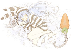 1girl, abara heiki, bangs, bare legs, barefoot, blue hair, chains, commentary, cuffs, don-chan (usada pekora), dress, eyes closed, fetal position, full body, hat, hololive, long hair, long sleeves, lying, multicolored hair, official alternate costume, on floor, on side, prison clothes, shackles, skull, solo, stone floor, striped, striped dress, striped headwear, tears, twintails, two-tone hair, usada pekora, virtual youtuber, wavy mouth, white hair