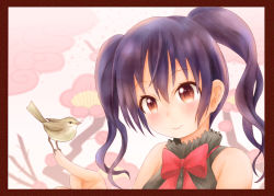 1girl, bangs, bare arms, bare shoulders, bird, bird on finger, black hair, black shirt, blush, bow, bowtie, brown outline, buttons, cherry blossoms, closed mouth, collared shirt, commentary request, eyebrows visible through hair, framed, gradient eyes, hair between eyes, hanafuda, index finger raised, light blush, looking at viewer, medium hair, multicolored, multicolored eyes, pink background, portrait, red bow, red eyes, red neckwear, rieru (zavh8244), shirt, sleeveless, sleeveless shirt, smile, solo, striped, striped shirt, twintails, two-tone background, upper body, urara meirochou, vertical-striped shirt, vertical stripes, white background, yukimi koume
