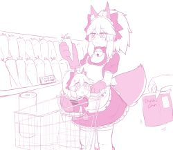 2girls, alternate costume, animal ear fluff, animal ears, apron, bare shoulders, bell, blush, breasts, carrot, cat paws, chips, cleavage, collar, detached sleeves, dual persona, enmaided, eyebrows visible through hair, fang, fate/grand order, fate (series), food, fox ears, fox girl, fox tail, gloves, hair ribbon, highres, jingle bell, keita naruzawa, large breasts, long hair, maid, maid apron, maid headdress, miniskirt, monochrome, multiple girls, neck bell, open mouth, paw gloves, paws, ponytail, ribbon, simple background, skirt, sparkle, tail, tamamo (fate) (all), tamamo cat (fate), vegetable, white background