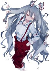 1girl, bangs, bow, breasts, closed mouth, feet out of frame, from above, fujiwara no mokou, grey hair, hair bow, hands in pockets, head tilt, highres, ikurauni, long hair, long sleeves, pants, red eyes, red pants, shirt, simple background, small breasts, standing, suspenders, touhou, v-shaped eyebrows, very long hair, white background, white bow, white shirt
