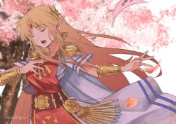 1girl, absurdres, armor, arms, artist name, bangs, belt, belted dress, blonde hair, blue eyes, bracelet, cape, collarbone, diadem, dress, earrings, eyes closed, female focus, fingernails, gold belt, hand on own chest, hands, highres, huge filesize, jewelry, leaf, leaves in wind, long dress, long hair, long image, lots of jewelry, music, nature, neck, necklace, nintendo, open mouth, outdoors, pointy ears, princess zelda, print dress, short-sleeved dress, short sleeves, shoulder armor, singing, sky, the legend of zelda, the legend of zelda: a link between worlds, tiara, tree, triforce, triforce earrings, tunic, white cape, white dress, white tunic