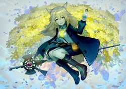 1girl, absurdres, animal ears, arknights, bangs, belt, bielin, blonde hair, boots, choker, dog ears, dog girl, eyebrows visible through hair, floating, full body, green eyes, green jacket, hair between eyes, highres, holding, holding staff, infection monitor (arknights), jacket, knee boots, long hair, long sleeves, open clothes, open jacket, open mouth, podenco (arknights), pouch, shirt, skirt, smile, solo, staff, tail, vial, white shirt, yellow neckwear