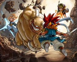 2boys, 2girls, antenna mast, battle, chrono trigger, clenched hand, commentary, crono (chrono trigger), demon boy, electricity, english commentary, fire, fireball, full body, glasses, grin, harem pants, headband, helmet, high ponytail, holding, holding sword, holding weapon, horns, john crayton, katana, lips, lucca ashtear, magic, marle (chrono trigger), masa & mune (chrono trigger), monster, multiple boys, multiple girls, muscular, muscular male, no pupils, official style, open mouth, pants, parody, purple hair, red hair, smile, spiked hair, style parody, sword, toriyama akira (style), upper teeth, weapon, white headband