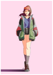 1girl, ankle boots, automatic giraffe, baseball cap, black choker, black shorts, boots, border, brown footwear, casual, choker, commentary, english commentary, facing viewer, fashion, final fantasy, final fantasy vii, final fantasy vii remake, flat chest, food in mouth, full body, grey legwear, hair through headwear, hands in pockets, hat, jacket, jessie rasberry, long hair, looking to the side, mouth hold, open clothes, open jacket, pink background, ponytail, raglan sleeves, short shorts, shorts, sidelighting, socks, solo, walking, white border