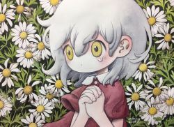 1girl, daisy, dated, dot mouth, flower, grey hair, hands clasped, hands together, leaf, looking away, medium hair, no nose, original, own hands together, pale skin, red shirt, shirt, short sleeves, signature, solo, tears, upper body, white flower, wind, wing collar, yellow eyes, zukky000