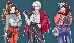 3girls, antenna hair, ass, bag, belt, black bag, black belt, black choker, black pants, blonde hair, blue background, blue eyes, braid, breasts, brown eyes, brown hair, buttons, cellphone, choker, collarbone, collared shirt, cowboy shot, dress shirt, earrings, eyelashes, fatal fury, fingernails, from behind, gold necklace, hair intakes, hand in pocket, handbag, high ponytail, highres, holding, holding phone, holding wallet, hood, hood down, hooded jacket, hoop earrings, jacket, jacket on shoulders, jewelry, king (snk), long hair, long sleeves, looking at viewer, medium breasts, multiple girls, nail polish, necklace, neo geo pocket color, open clothes, open jacket, open shirt, outline, pants, parted lips, phone, pink jacket, pink lips, pink nails, pocket, ponytail, poririna, purple pants, red jacket, red pants, ryuuko no ken, see-through, see-through sleeves, shiranui mai, shirt, short hair, single braid, smartphone, smile, snk, the king of fighters, thigh gap, twitter username, unbuttoned, unbuttoned shirt, wallet, white outline, white shirt, yuri sakazaki