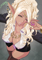 Rule 34   1girl, 2015, artist name, black jacket, blonde hair, boots, bracelet, breasts, brown footwear, brown legwear, bursting breasts, business suit, chain, chain earrings, chains, cleavage, close-up, collared shirt, covered erect nipples, dark-skin, dark-skinned, dark-skinned female, dark elf, dark skin, dutch angle, ear piercing, earrings, elf, eyebrows, eyelashes, eyeliner, eyeshadow, facing up, facing viewer, female focus, fingernails, formal, from above, gold, gold bracelet, gold chain, gold earrings, gold necklace, gold tiara, grey background, headwear, high boots, high heel boots, high heels, highres, huge breasts, huge lips, huge nipples, impossible clothes, jacket, jewelry, lace, lace-trimmed panties, lace trim, lips, long fingernails, looking above, looking at viewer, looking up, lots of jewelry, makeup, mascara, nail polish, naughty, naughty smile, nipples visible through clothing, no bra, no skirt, one eye closed, open clothes, open shirt, original, panties, parted lips, piercing, pink nail polish, pink nails, pink panties, pinstripe jacket, pinstripe pattern, pinstripe suit, pointy ears, pucker, puckered lips, puffy lips, puffy nipples, red eyeshadow, revealing clothes, seductive eyes, seductive smile, sharp fingernails, shiny, shiny face, shiny hair, shiny skin, shirt, signature, smile, solo, sparkle, sparkling face, sparkling hair, sparkling jewelry, standing, striped, striped jacket, suit, tan, tan skin, tatsunami youtoku, thighhighs, thighs, tiara, unbuttoned, unbuttoned shirt, underwear, up close, white stripes, wink, year, yellow eyes