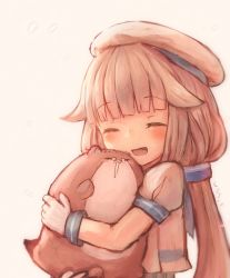 1girl, blue sailor collar, bokukawauso, commentary request, eyes closed, grey hair, hat, hug, kantai collection, long hair, low twintails, mikura (kancolle), otter, puffy short sleeves, puffy sleeves, sailor collar, sailor hat, sailor shirt, shirt, short sleeves, smile, twintails, white headwear, white shirt, wss (nicoseiga19993411)