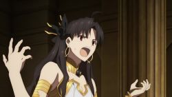 1boy, 3girls, animated, armlet, armor, ass, ass focus, asymmetrical legwear, battle, black hair, character request, crown, curvy, earrings, fate/grand order, fate (series), fighting, hair ornament, highleg, highleg panties, holding, holding weapon, huge ass, ishtar (fate), ishtar (fate) (all), jewelry, leotard, long hair, magic, mash kyrielight, multiple girls, panties, scythe, sitting, sky, smile, thong, throne, twintails, underwear, very long hair, video, walking, weapon, webm