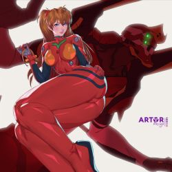 1girl, arttoru, ass, ass focus, blue eyes, blush, bodysuit, breasts, brown hair, curvy, eva 02, hand on ass, long hair, looking at viewer, mecha, neon genesis evangelion, plugsuit, shiny, shiny clothes, shiny hair, shiny skin, simple background, smile, solo, soryu asuka langley, twintails