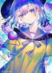 1girl, :o, abstract background, arms behind back, blouse, blue eyes, blue hair, breasts, dithering, eyeball, frills, hat, head tilt, highres, hinasumire, koishi day, komeiji koishi, light blush, open mouth, short hair, short sleeves, small breasts, solo, third eye, touhou, upper body, yellow blouse